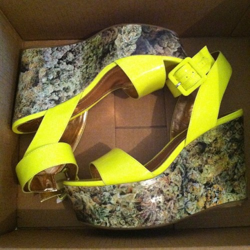 my gift to me. mary jane wedges  #cannabis #weed #summer #neon #marijuana #shoes