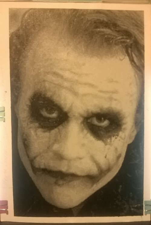Hopefully I'll upload a better pic of this soon.Heath Ledger - JokerBlack acrylics, A4 size, 50,400 pixels, 1mm.I'll be getting prints of this done soon and the original is also for sale. If anyone is interested in purchasing either please email at pixelpopart@gmail.com with offers.Thanks for looking.