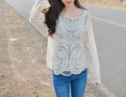 Get this Long Sleeve Lace Blouse • SammyDress