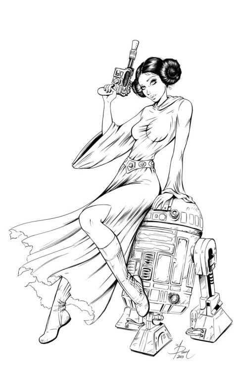 xxgeekpr0nxx:  Princess Leia & R2 by Dawn McTeigue.