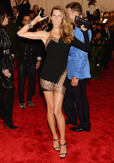 Gisele Bundchen in Anthony Vaccarello Best Dressed at the Red Carpet of Costume Institute Gala for the 'PUNK: Chaos to Couture' exhibition at the Metropolitan Museum of Art 2013. May 7th, 2013 8:30  P.M. GMT.