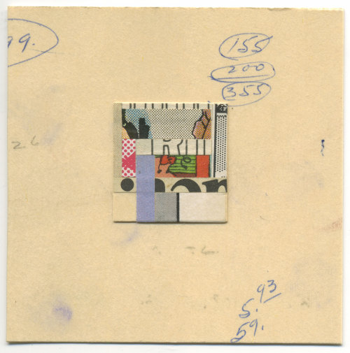 zachcollinsart:   3x3 inch w/ 1x1 inch cut and paste collage in middle on the way to Bad Jones Rising!   Its Zachs birfday. Hes awesome.