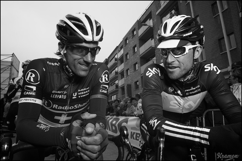 fuckyeahfabiancancellara:  Fabu and Bernie. (Photo by Kristof Ramon)
