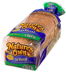 Double Fiber Wheat Bread  {Nature's Own}This wonder packs 5g of fiber plus 3g of protein… in just 50 calories per slice! That's significantly fewer calories than other breads with comparable nutritional benefits.
