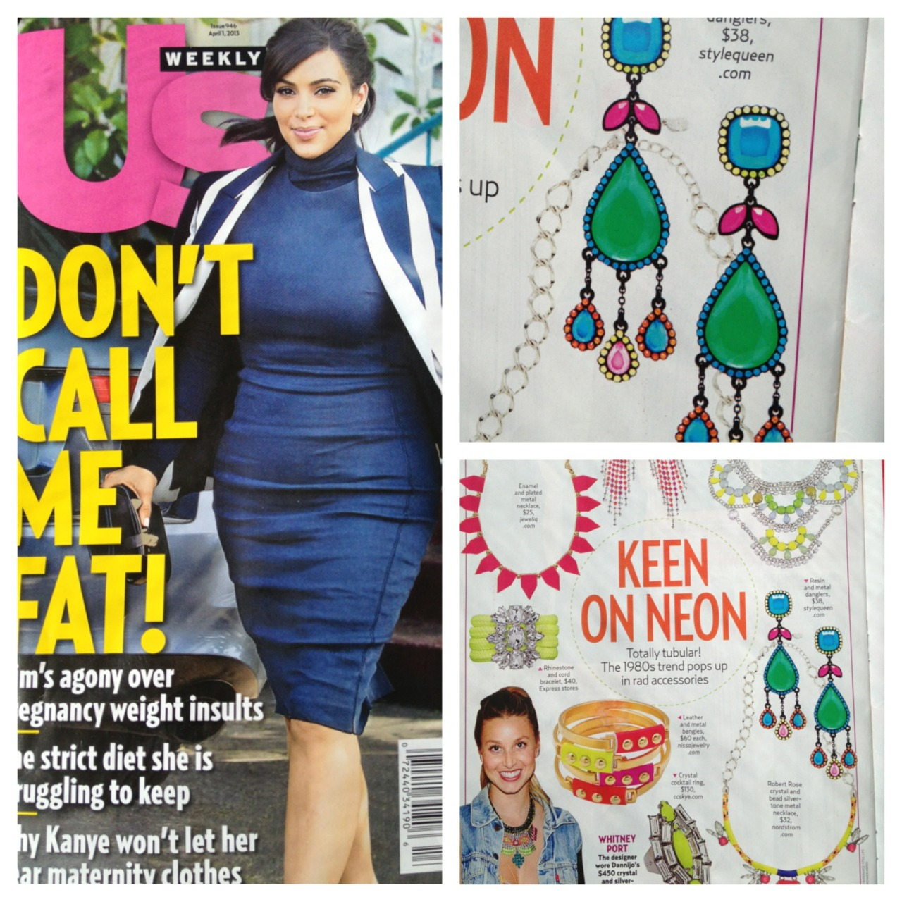 "The gorgeous Josephine Earrings were featured in ""Keen on Neon"" in the April 1st US Weekly."
