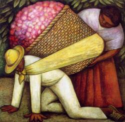 "mexicanfoodporn:  Diego Rivera ""El Cargador de Flores"" (The Flower Carrier)  1935 Dimensions (cm): 121.3 x 121.9 San Francisco Museum of Modern Art"