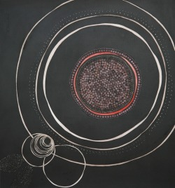 wasbella102:  Lena Wolff - Circle Study, #2  acrylic, graphite, collage and pinpricks on paper