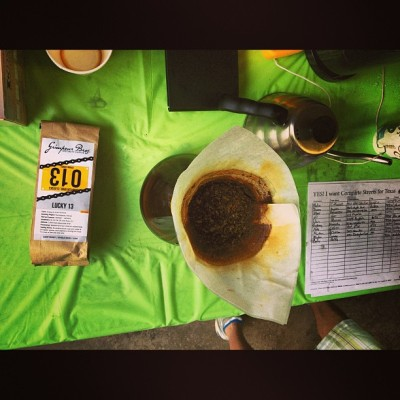 Finished up #BikeToWorkDay by #Chemex-ing #Lucky13 #microlot from #Kenya. Commuters drained da airpot of #FloydBennettField #SingleOrigin from #PapauNewGuinea so we moved on to #Kenya. Serious #coffeedoping. SUPA THX @cycleast & @dwntwnbikr for a great morning!  #gnar #grimpeur #specialtycoffee #latergram #bikeatx #EastAustin #EverydayIsBikeToWorkDay #BikeToWork #EveryMonthIsBikeMonth #commuters #cycling #bikes #RideYourBike #DrinkGreatCoffee cc: @AustinCycling #squaready  (at Cycleast)