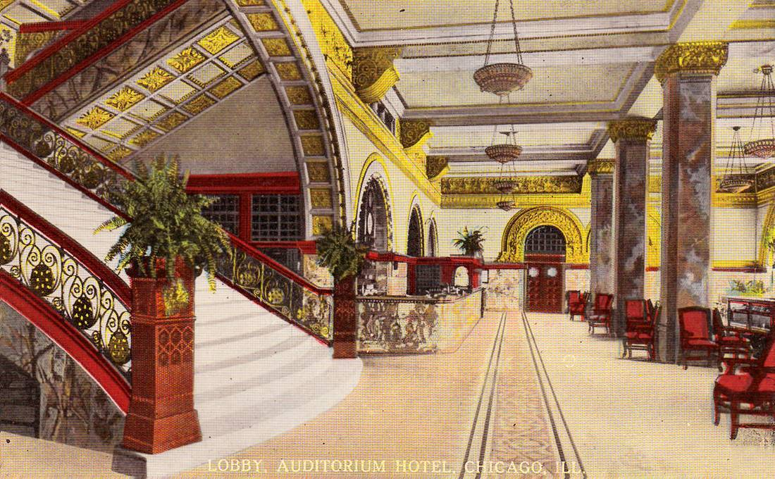Inside the lobby of the Auditorium Hotel, Chicago