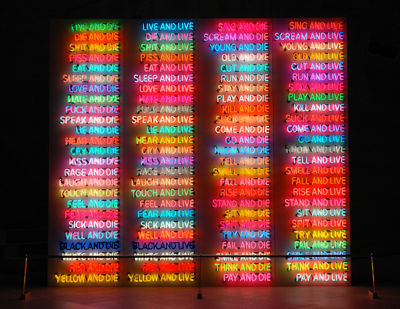 zagorparade:  Bruce Nauman, 'One Hundred Live and Die' | The Fox Is Black on We Heart It - http://weheartit.com/entry/41414783/via/sakuraengrwrtni