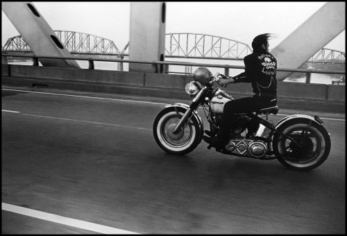 I love my new city.  timelightbox:  Photograph by Danny Lyon—Magnum For the past five decades the photographer Danny Lyon has produced a mix of documentary photographs and film – both politically conscious and personal. Currently on view at Charles A. Hartman Fine Art in Portland is Lyon's body of work, The Bikeriders. For more information about the exhibition, visit here. To see more of Lyon's work on LightBox, click here.