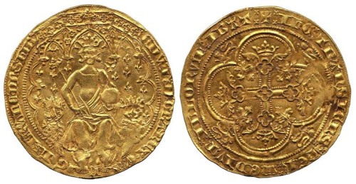 historysquee:  Edward III Gold Double Leopard, 1344 The double leopard is a very rare coin, as it was only produced for 6 months during 1344 and only three examples survive. England did not have regular gold coinage in this period , with French and Italian gold coins being used instead, the double leopard was an attempt at introducing an English coin. These coins failed due to being made at too high a value and so not being commercially viable as currency. The coin is also interesting because it shows Edward III showing his claim to the throne of France, with many fleur-de-lis in the background behind the throne.