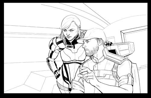 Happy (future) birthday Commander Shepard, I finished the inks for this one.  I've decided to tackle most of the bg in the color phase.  This should be interesting.