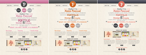 3 different colors of portfolio web design