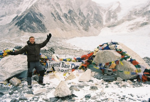 rumanating:  Your's truly, Everest base Camp, January 2013.Sadly a tad anticlimactic; Kala Patthar with a clear view of Everest the next day was much closer to expectations. But none the less, revelling after the weeks of walking.