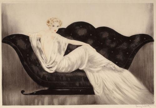 "Louis Icart Illustration - ""Le Sofa"", 1937. The dress is very 'Madame Gres'."