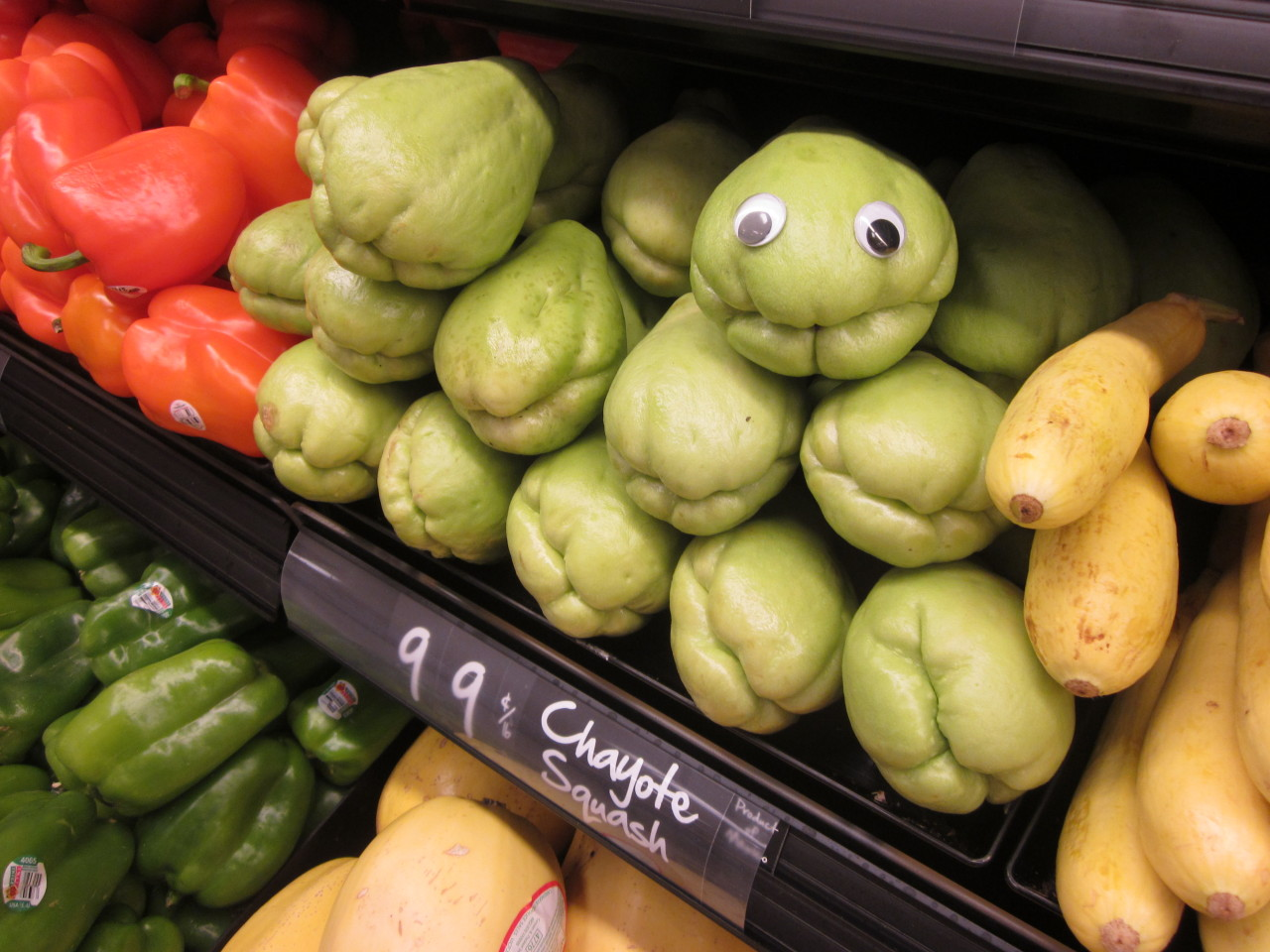 "The puckered ""mouth"" of the chayote squash is just asking for googly eyes!"