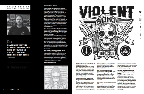 Pleased to have a cool little Sub interview as part of the 10 page Violent Soho feature. The awesome Bianca (who happens to be 2011 zine maker of the year!) did the feature and went at it deep enough to actually track me down and ask me about how the art for the Violent Soho record came about, really great to be featured and that people are pushing to create interesting content. you can check the whole mag here and biancas blog here Thanks Bianca!