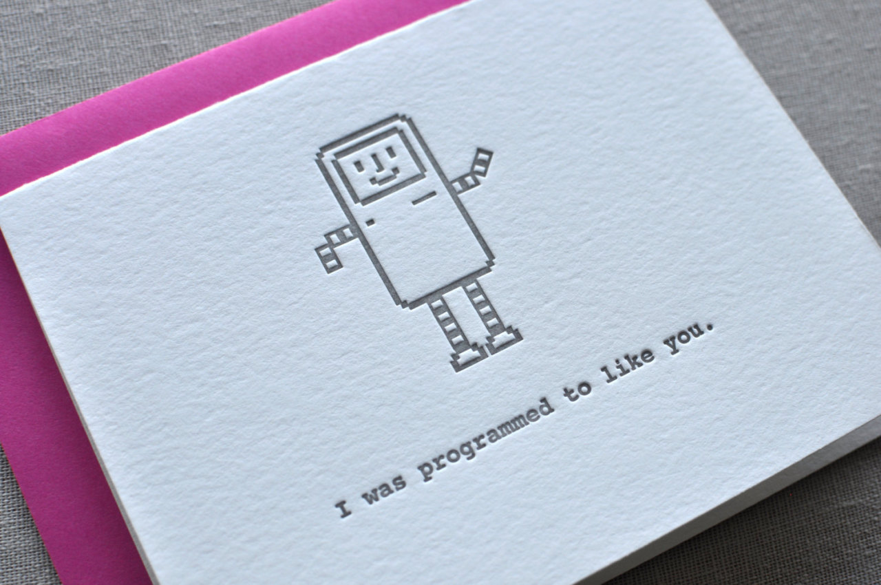 Adorable Valentine's Day Cards for Geeks I'm not one for Valentine's day cards (Or any cards for that matter, except Yu-gi-Oh and Pokemon at one point.) but I have to admit, these cards from Paperwheel are pretty cute. On top of that, they are really nicely designed. I love the texture to the cards. They also do other card designs, all of which feature the great textured look. They are simple and beautiful. I wonder if they do business cards… Check It: More artsy junk on AlbotasBuy It: Paperwheel's Etsy Store
