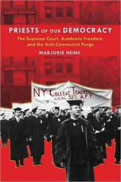 lareviewofbooks:  Marjorie Heins raises important but troubling questions about academic freedom in her new book Priests of our Democracy. From Stephen Rohde's review:  Heins juxtaposes her compelling and distressing account of the anticommunist purges [during the 1940s and 50s] that reached into the ivory towers of our colleges and universities with a chilling cautionary tale that asks whether history is repeating itself through the repressive reactions to 9/11. Have the earlier witch hunts that targeted alleged communists (with a disturbing and disproportionate focus on Jews) been replaced with an obsessive targeting of alleged terrorists (with a disturbing and disproportionate focus on Muslims)? Have we learned anything from the excesses of McCarthyism, or are we condemned to repeat them?  Read more over here.