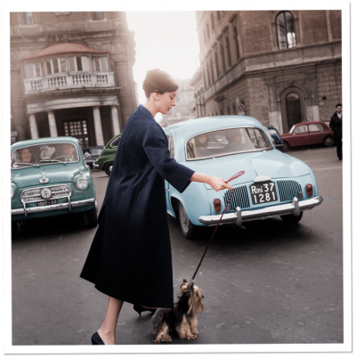 Audrey Hepburn and Mr. Famous leave the Hotel Hassler, on the Piazza Trinità dei Monti, 1960. (via Vanity Fair)