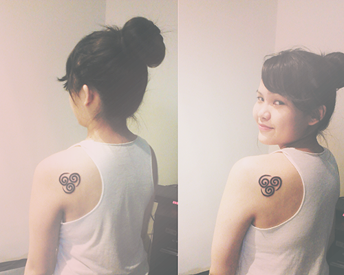 trappedinsanity:  Just got my air symbol tattoo, been a fan of Avatar since I was 11, and I've made great friends all over the world because of this show. I chose air because it symbolizes freedom, something that means so much to me. :)