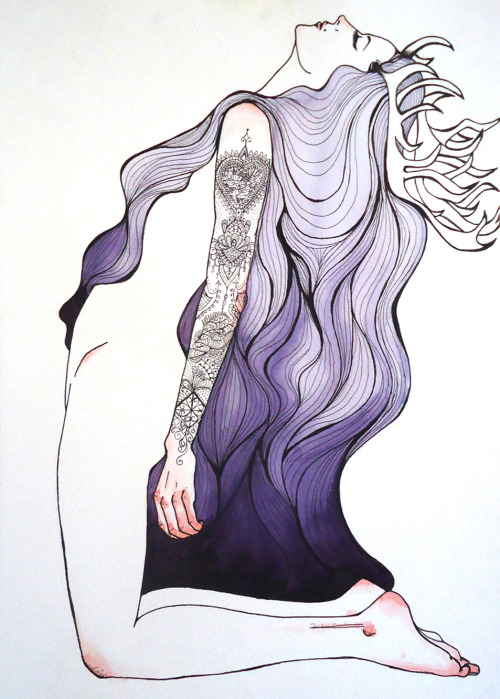 owls-love-tea:  eatsleepdraw - Deer Queen | Nankin and Watercolor (42 x 29,7cm)