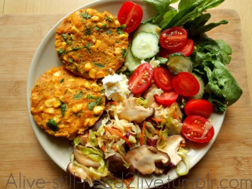 findvegan:  pumpkin corn patties with sauteed cabbage & veggies
