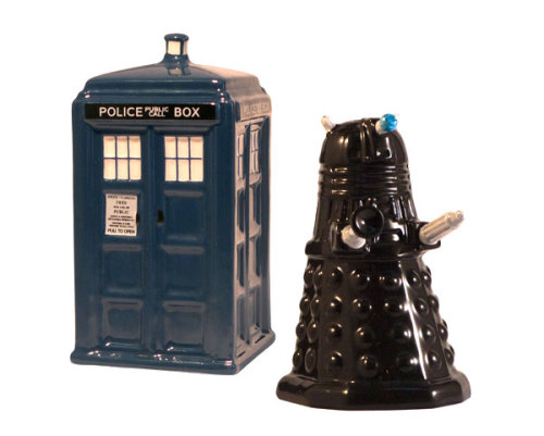 archiemcphee:  TARIDIS vs Dalek Salt and Pepper Shakers - If you're a real Doctor Who fan, you won't be able to resist this set of salt and pepper shakers. Otherwise, how will you be able to pretend every meal is an episode of your favorite show? The Daleks have invaded planet Brunchifrey and suddenly the TARDIS appears. The rest of the story is up to you, but we're going to bet the solution somehow involves mashed potatoes and reversing the polarity of the neutron flow. Buy today and get our 20% Early Adopter discount!