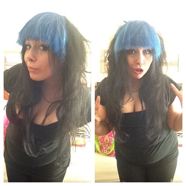 Opinion… Should I do a bang? Obviously it wouldn't be blue… Lol. And it would be my hair and actually cut to fit me. #hair