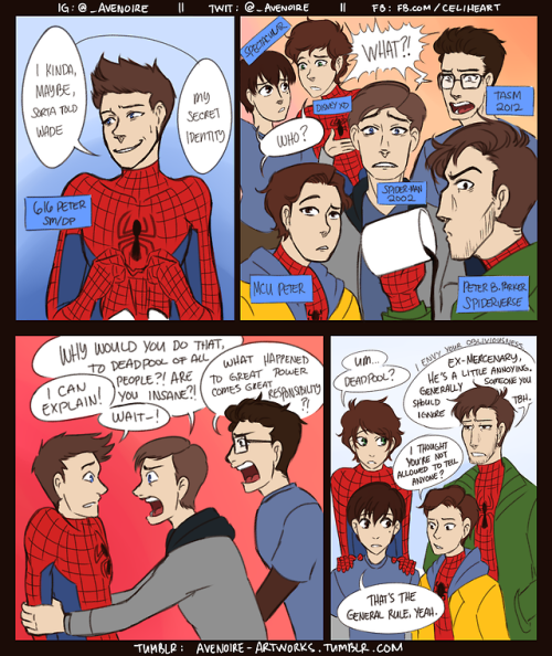 avenoire: >>READ LEFT TO RIGHT >> please take this monstrosity so i can move on with my life – also i eat comments via asks for breakfast❤ [ EDIT ] the inside jokes are mostly from the Spider-man/Deadpool team up series, so this would make more sense if you knew a bit more of the stuff going on in the comics, i added the specific issues within the fancomic for your convenience 👍    By avenoire not me