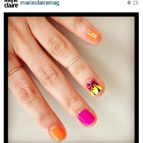#regram from @marieclairemag and @alyssavingan vacation ready nail art using @illamasqua Superstition, Gamma, Rare, and Boosh! #nails #nailart #palmtrees #beach #vacation