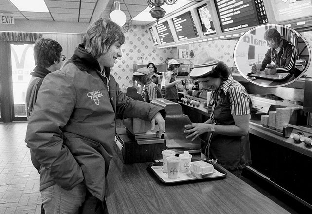 Wayne Gretzky grabs a quick meal at a McDonald's in Sault Ste. Marie during a 1978 photo shoot. (Lane Stewart/SI) GALLERY: Rare Photos of Wayne Gretzky