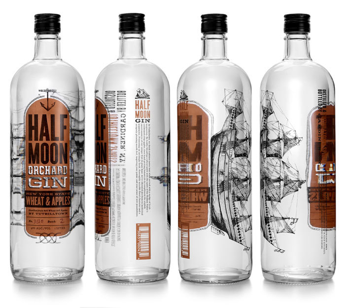 """Half Moon Orchard Gin is named after the ship Henry Hudson used to explore the river which now bears his name. Rather than focus on the botanical mix like most gins, the adventurous Tuthilltown crew began by distilling the base spirit from New York State wheat and apples to create a smooth, round gin that is superbly drinkable."""
