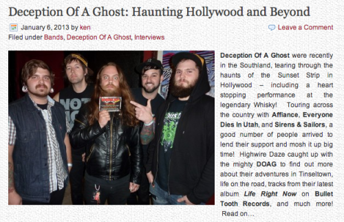 "Great new interview with Buddy Dameron from Deception Of A Ghost over at Highwire Daze Online! New album ""Life Right Now"" out NOW and available on iTunes for only $7.99 with digital booklet: http://itun.es/i6J85Rf http://highwiredaze.com/wordpress/doagint2"