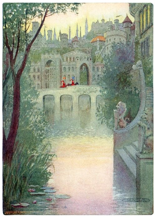 A city of shadowy palaces.  Maria Louise Kirk, from The story of Idylls of the king, adapted from Tennyson by Inez N. McFee, New York, 1912.  (Source: archive.org)