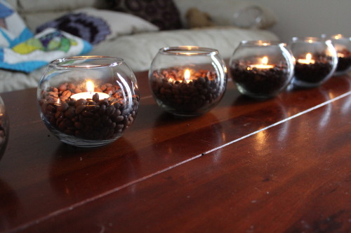 morewinelesswhine:  Year of Crafts 2013:  February Edition Coffee Bean Candle Holders