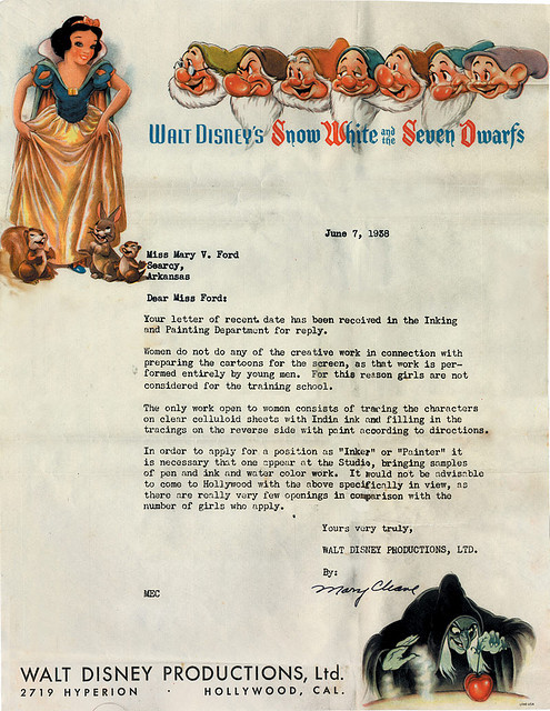 bostonreview:  Disney employment rejection letter to a woman, 1938. (Via Kevin Burg)