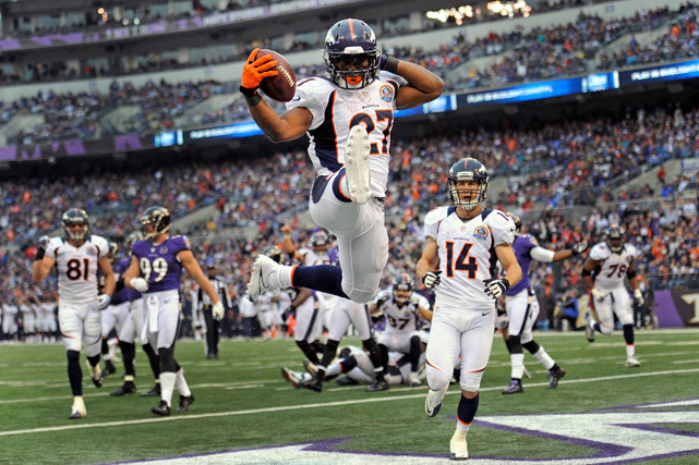 Broncos running back Knowshon Moreno celebrates his touchdown during the second half of Sunday's game against the Ravens. Moreno ran for 118 yards as Denver cruised to a 34-17 victory.  (AP Photo/Nick Wass) KING MMQB: Week 15 added intrigue to a wild playoff pictureBANKS: Redskins roll without RGIII and more from Week 15
