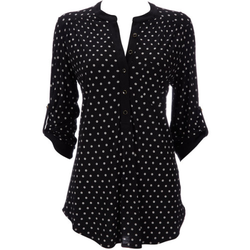 Black Polka Dot Shirt   ❤ liked on Polyvore (see more black polka dot shirts)