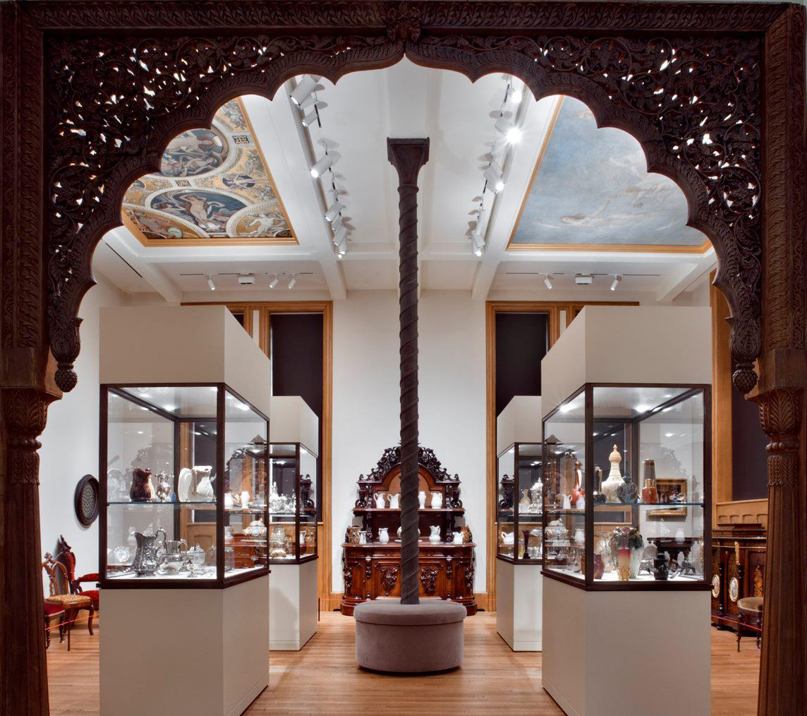 A room in the American Decorative Art Collection at Yale University Art Gallery. See that velvet, circular couch in the center of the room? That's a good spot from which to admire the Huntington Mansion Ceiling Murals hanging overhead.  Photo: Elizabeth Felicella