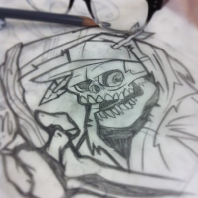 The #rilla #reaper. Sneak peek of a #Colab shirt with @rillaapparel. #sketch #skull #tshirt #drawing #ladivision #theoutsiders #print #mustfollow #keeptheballrolling