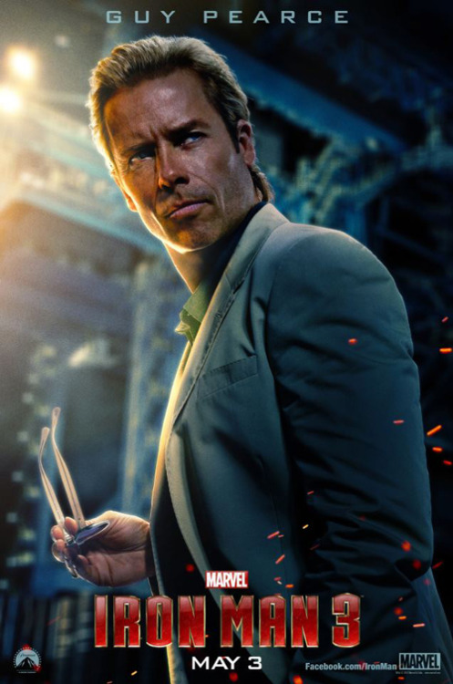 Guy Pearce stars in new poster for Iron Man 3 A new poster has been released online for Iron Man 3, this time featuring Guy Pearce as the brilliant geneticist Aldrich Killian…