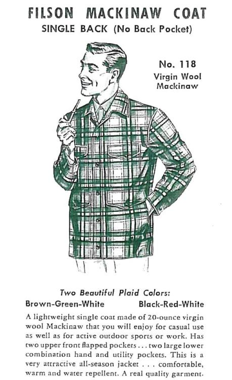 C.C. Filson's No.118 Virgin Wool Mackinaw. http://formfollowsfunctionjournal.tumblr.com/post/33182775074/union-made-c-c-filson-seattle-plaid-cruiser#notes
