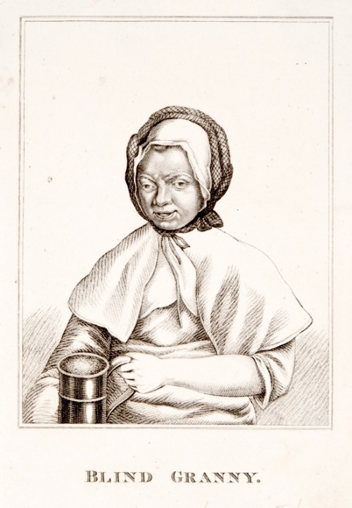"essentialsublimeabsurd:   ""'Blind Granny', c17-18th century. Image © Royal College of Physicians  Title on print: Blind Granny Stipple by unknown artist, date unknown Size: 21.3 cm x 13.1 cm Blind Granny was an elderly lady who lived in London around the turn of the 18th century. She was called 'Blind Granny' or even 'Lady Granny', but her real name is unknown. She was famous for the length of her tongue (the medical term today is macroglossia), with which she would lick her blind eye in return for money to buy beer. She was also thought to have mental health issues. Despite the proximity of Bethlem Hospital (known as 'Bedlam'), an institution for people who were commonly referred to as 'lunatics' from 1377, she was accepted by the local population as an eccentric living within their midst. She was considered a 'character' in her London locality and was celebrated in verses of the time. **Liz Porter, focus group participant:** 'I don't like the fact that she hasn't got a name … her impairment is her title. With the others they are given a name.' **Tim Gebbels, focus group participant:** ' … it touches off that whole debate about how individuals regard impairments today in society and how collectively we talk about impairments via the media. There is generally a perception, not articulated as crudely as this, that anyone with mental health issues is a potential rampager … and a danger to others, whereas with the vast majority of people with mental health issues that isn't the case. And there's also the image that people with mental health issues are … fairly low functioning often, which is given to us … by a tabloid media, which is not true …' **Jane Stemp, focus group participant:** ' … she is portrayed with a jug of beer, she has got what she wants. So there's some kind of, you know, there's some kind of success for her in that.' **Aidan Moesby, focus group participant:** 'But in that image she doesn't look like she's pleased that she's got the beer. She doesn't look like she's kind of enjoying or engaging with it … ' **Jane Stemp, focus group participant:** 'So is it ironic that her image has more power than she does? … her image is doing the rounds and getting seen and letting us know about her.'"""