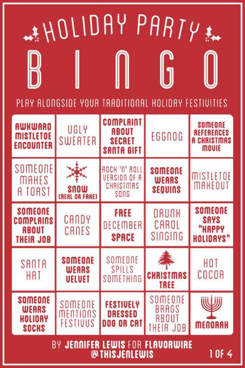 flavorpill:  Flavorwire's Holiday Party Bingo   Print and save.