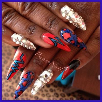 #nails #nails #nyc #blue #red #gems #rhinestones #potd #prom #fun #picasonails #brooklyn #art #moma #fashion #girls #pretty