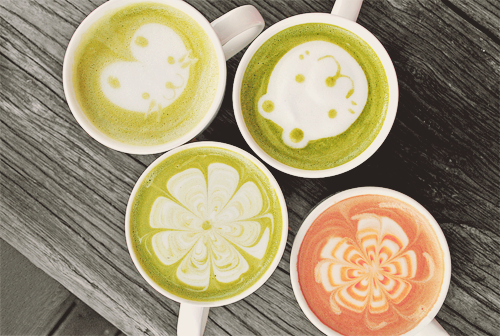 mutedheartstrings:   Joy of coffee (by Andsin)  I think that's matcha, but okay. o uo