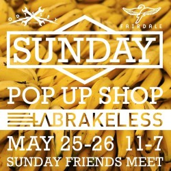 Sunday Bikes is having a Pop Up Shop this Memorial Day weekend at LA Brakeless. See and Ride the entire time of Sunday bikes. Every part we make will be there too. If you Own a Sunday, bring it! If you follow Sunday you know that we put up Sunday Friends pictures of bikes that you guys build and ride. If you are in LA, and have a Sunday, ride it to the shop and get a gift for being choosing wisely when deciding what bike to ride. @labrakeless #sundayfriends #sundaybikes #bmx