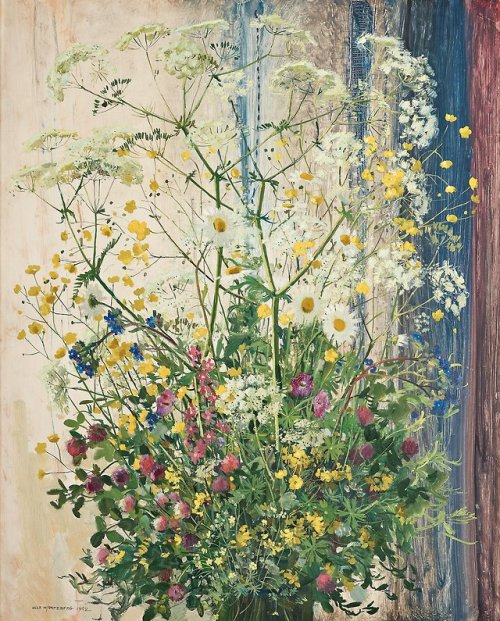 thunderstruck9:Olle Hjortzberg (Swedish, 1872-1959), Midsommarblomster [Still Life with Meadow Flowers], 1942. Oil on panel, 100 x 81 cm.